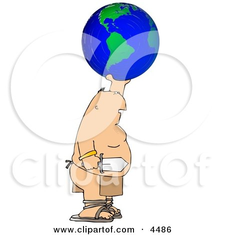 Warrior Holding Globe And Sword Clipart