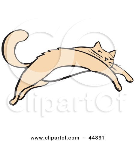 Royalty-free (RF) Clipart Illustration of a Leaping Beige Cat With A White Belly by xunantunich