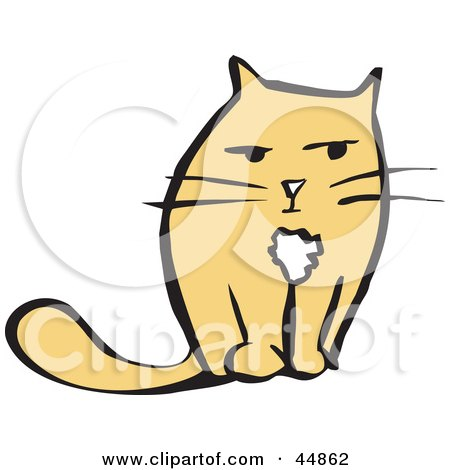 Royalty-free (RF) Clipart Illustration of a Grouchy Yellow Cat Facing Front by xunantunich