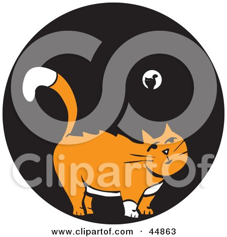 Royalty-free (RF) Clipart Illustration of a White And Orange Cat Standing In The Black Of Night by xunantunich