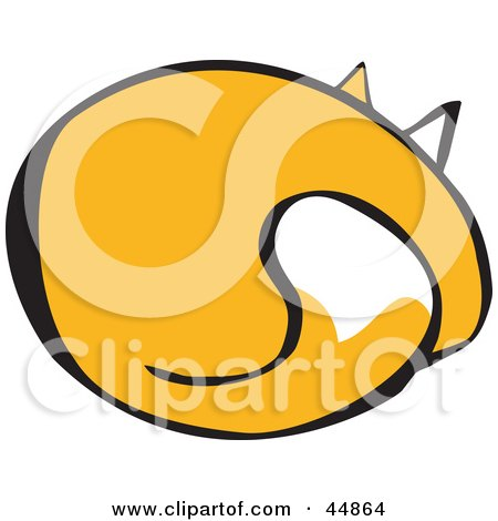 Royalty-free (RF) Clipart Illustration of a Rear View of a Yellow Cat Sleeping by xunantunich