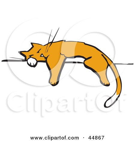 Royalty-free (RF) Clipart Illustration of an Exhausted Cat Napping On A Wall Or Fence by xunantunich
