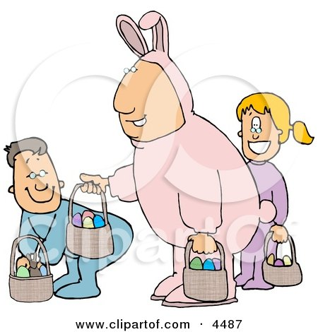 Single Father Wearing an Easter Bunny Costume and Participating in an Easter Egg Hunt with His Son & Daughter Posters, Art Prints