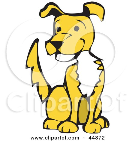 Royalty-free (RF) Clipart Illustration of a Happy Yellow Dog With A White Chest, Sitting And Wagging His Tail by xunantunich