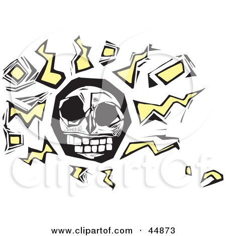 Royalty-free (RF) Clipart Illustration of an Abstract Human Skull With Yellow Squiggles And Cubes by xunantunich