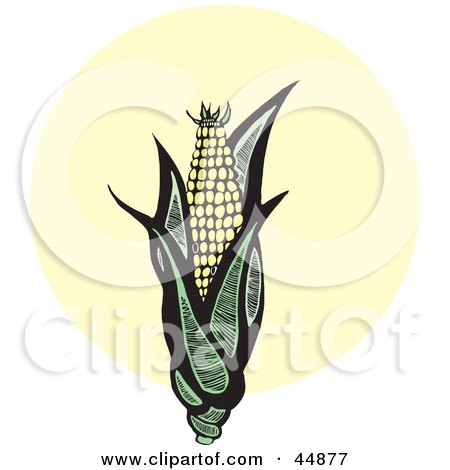 Royalty-free (RF) Clipart Illustration of an Organic Ear Of Corn With Green Husks by xunantunich