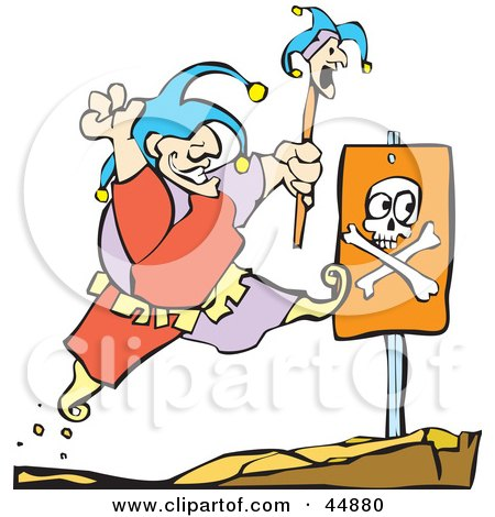 Royalty-free (RF) Clipart Illustration of a Happy Fool Leaping Right Past A Dangerous Cliff Sign by xunantunich