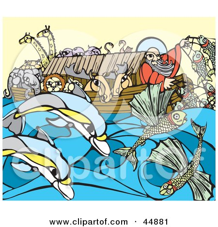 Royalty-free (RF) Clipart Illustration of a Man And Pairs Of Animals Crowded On Noah's Ark by xunantunich