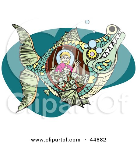 Royalty-free (RF) Clipart Illustration of Jonah Waving And Sitting With Fish In A Whale Belly by xunantunich