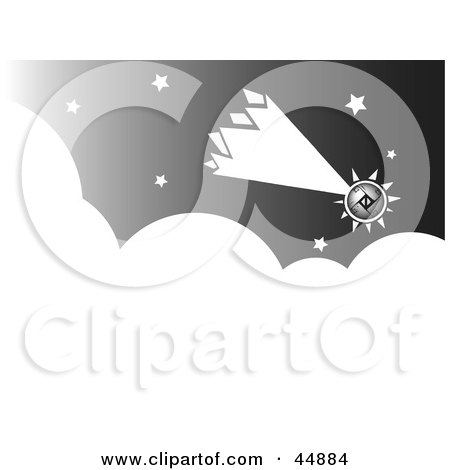 Royalty-free (RF) Clipart Illustration of a Futuristic Comet Shooting Through The Night Sky by xunantunich