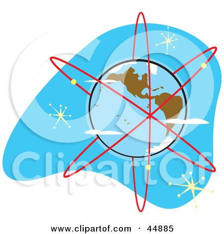 Royalty-free (RF) Clipart Illustration of Red Rings Surrounding Planet Earth by xunantunich