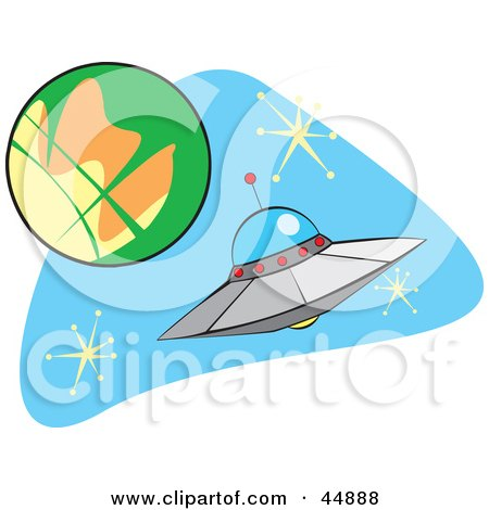 Royalty-free (RF) Clipart Illustration of a Flying Saucer Near A Planet In Outer Space by xunantunich