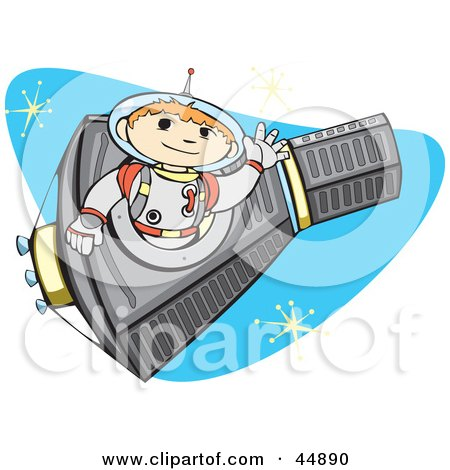 Royalty-free (RF) Clipart Illustration of an Astronaut Boy Flying A Rocket In Outer Space by xunantunich