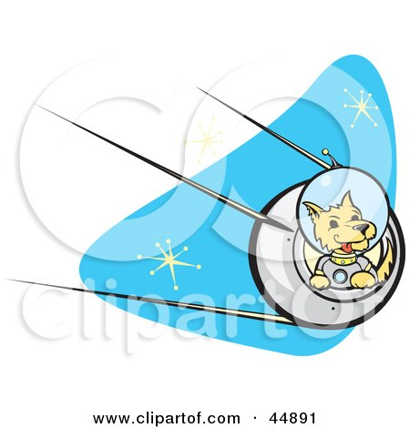 Royalty-free (RF) Clipart Illustration of an Astronaut Dpg Flying A Rocket In Outer Space by xunantunich