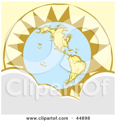 Royalty-free (RF) Clipart Illustration of The Sun Rising Behind Planet Earth, With Clouds In The Foreground by xunantunich