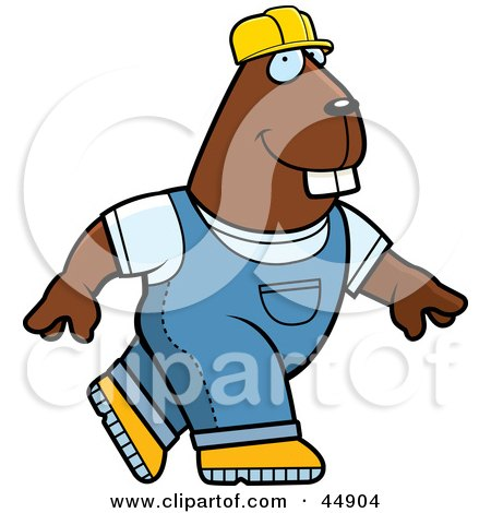 Walking Builder Beaver In Overalls And A Hard Hat Posters, Art Prints