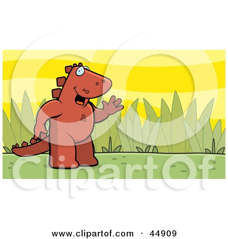 Royalty-free (RF) Clipart Illustration of a Friendly Waving Red Stegosaur Standing Upright In A Grassy Meadow by Cory Thoman