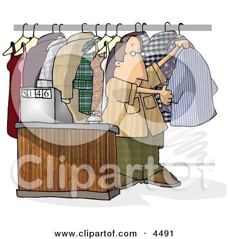 Dry Cleaner Standing Beside Clothing and Cash Register Posters, Art Prints