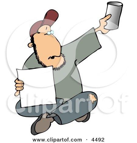 Homeless Man Begging for Money Clipart by djart