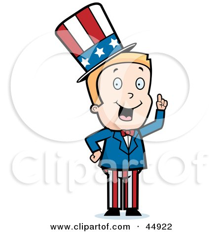 Royalty-free (RF) Clipart Illustration of a Blond Caucasian Uncle Sam Boy Character In A Patriotic Suit by Cory Thoman