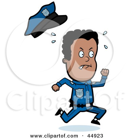 Royalty-free (RF) Clipart Illustration of a Sweaty African American Police Officer Toon Guy Running by Cory Thoman
