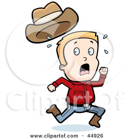 Royalty-free (RF) Clipart Illustration of a Sweaty Blond Caucasian Cowboy Boy Character Running by Cory Thoman