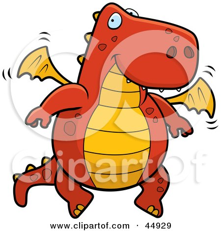 Royalty-free (RF) Clipart Illustration of a Friendly Red And Orange Flying Dragon by Cory Thoman