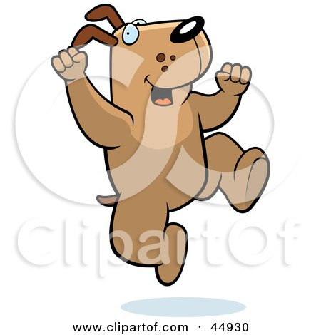 Royalty-free (RF) Clipart Illustration of a Jumping Brown Doggy Character by Cory Thoman