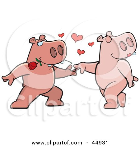 Royalty-free (RF) Clipart Illustration of an Amorous Pink Hippo Character Biting A Rose And Dancing With A Female by Cory Thoman