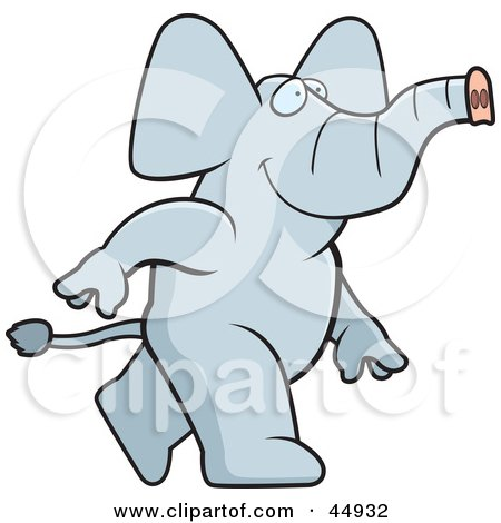 Royalty-free (RF) Clipart Illustration of a Happy Walking Gray Elephant Character by Cory Thoman