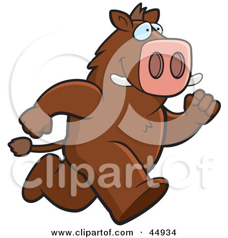 Royalty-free (RF) Clipart Illustration of a Brown Boar Character Running by Cory Thoman