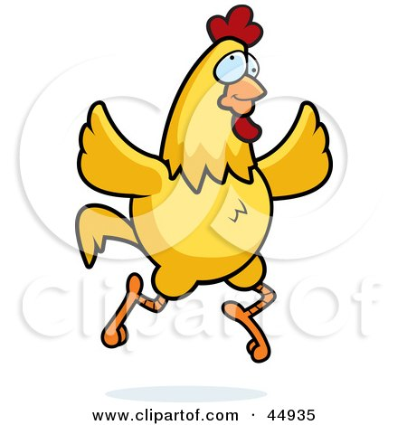 Royalty-free (RF) Clipart Illustration of a Crazy Yellow Chicken Running And Flapping Its Wings by Cory Thoman