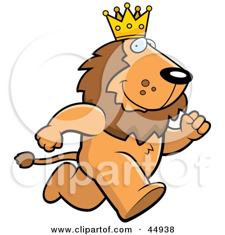 Royalty-free (RF) Clipart Illustration of a Running King Lion Character Wearing A Crown by Cory Thoman