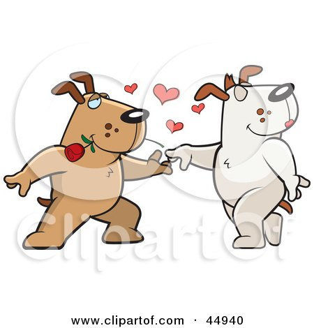 Royalty-free (RF) Clipart Illustration of an Amorous Brown Doggy Character Biting A Rose And Dancing With A Female by Cory Thoman