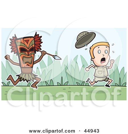 Royalty-free (RF) Clipart Illustration of a Scared Explorer Kid Running From A Tribal Man With A Spear by Cory Thoman