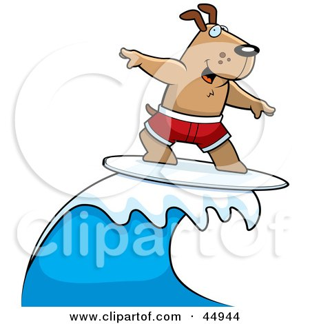 Royalty-free (RF) Clipart Illustration of a Surfing Brown Doggy Character Riding A Blue Wave by Cory Thoman