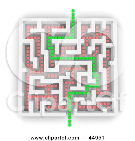 Royalty-free (RF) Clipart Illustration of a Green Path Leading Through A White Maze, With Red Paths That Dont Go Through by Jiri Moucka