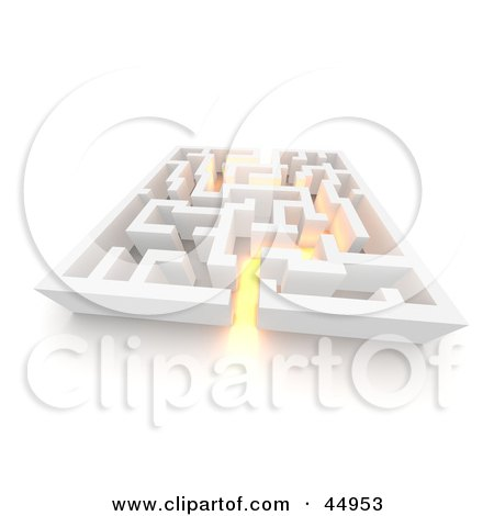 Royalty-free (RF) Clipart Illustration of Golden Glowing Light Leading Through A Maze by Jiri Moucka