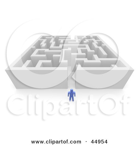 Royalty-free (RF) Clipart Illustration of a Blue Guy Standing Before A Tall Maze by Jiri Moucka