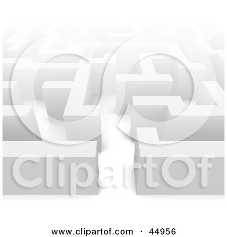 Royalty-free (RF) Clipart Illustration of a Misty White Maze by Jiri Moucka