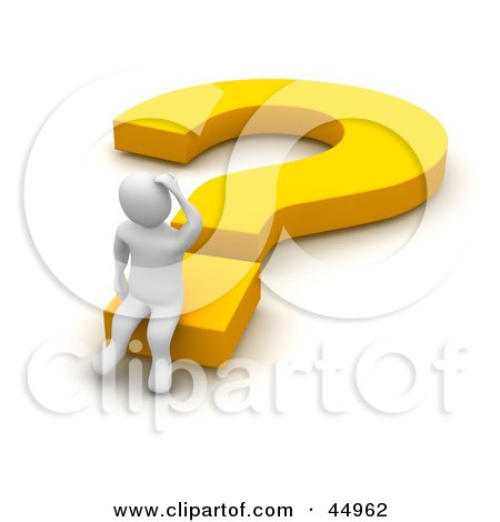 Royalty-free (RF) Clipart Illustration of a Discombobulated 3d Blanco Man Character Sitting On A Yellow Question Mark by Jiri Moucka