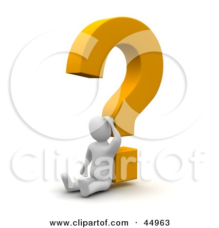 Royalty-free (RF) Clipart Illustration of a Discombobulated 3d Blanco Man Character Leaning Against A Yellow Question Mark by Jiri Moucka
