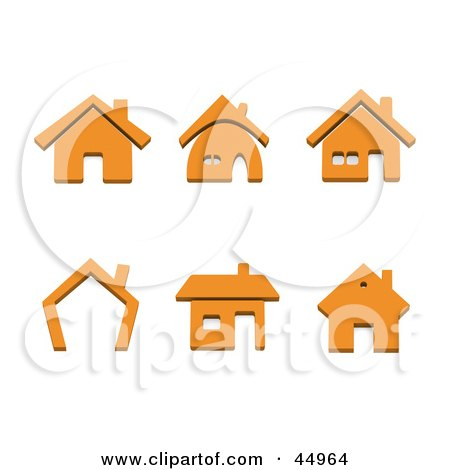Royalty-free (RF) Clipart Illustration of a Digital Collage Of Orange Home Shaped Icons by Jiri Moucka