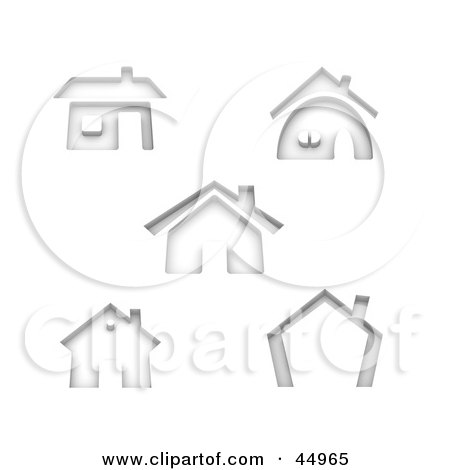 Royalty-free (RF) Clipart Illustration of a Digital Collage Of Gray Shadow Home Shaped Icons by Jiri Moucka
