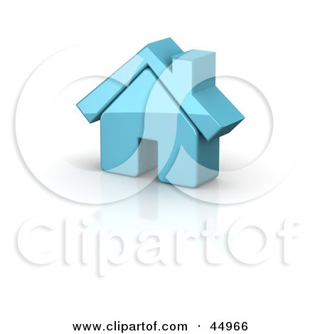 Royalty-free (RF) Clipart Illustration of a Shiny Blue 3d Home by Jiri Moucka