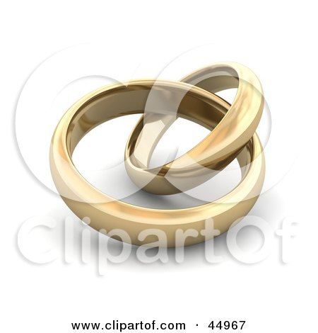 Royalty-free (RF) Clipart Illustration of Two Entwined Golden Wedding Or Engagement Bands by Jiri Moucka