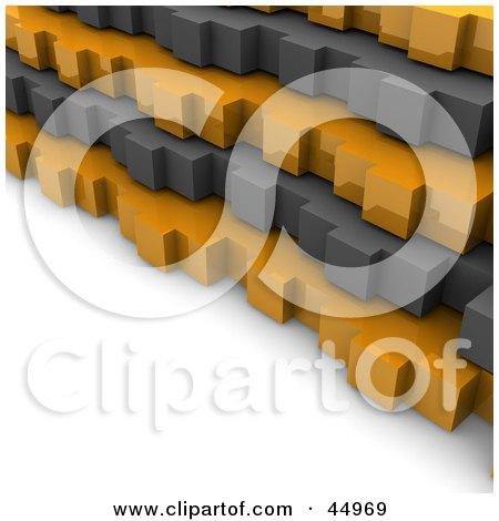 Royalty-free (RF) Clipart Illustration of Gray And Orange 3d Stacked Gears  by Jiri Moucka