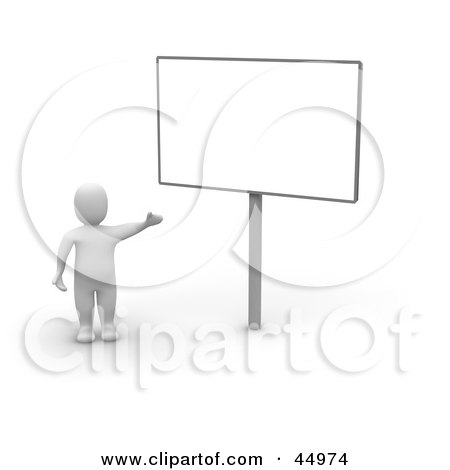 Royalty-free (RF) Clipart Illustration of a 3d Blanco Man Character Presenting A Blank Billboard Sign by Jiri Moucka