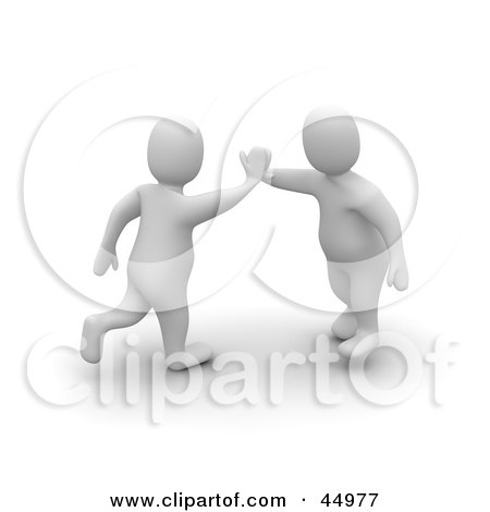 Royalty-free (RF) Clipart Illustration of Two 3d Blanco Man Characters Giving A High Five by Jiri Moucka