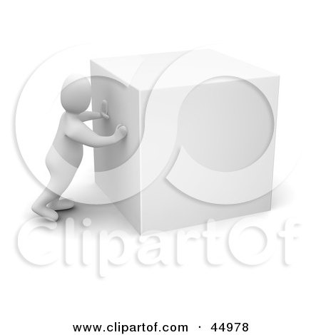 Royalty-free (RF) Clipart Illustration of a 3d Blanco Man Character Pushing A Large White Parcel Box Or Cube by Jiri Moucka